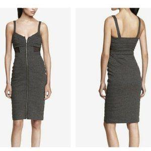 EXPRESS Charcoal Cutout Zip-Front Bodycon Dress 4